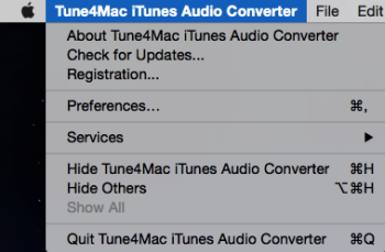 Tune4mac iTunes Audio Converter menu