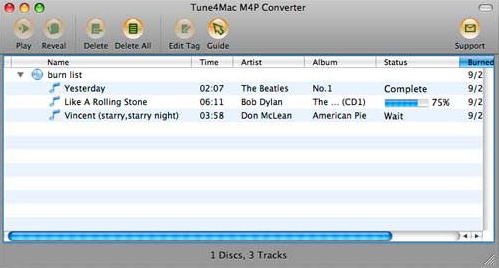 Interface of Tune4mac M4P Converter