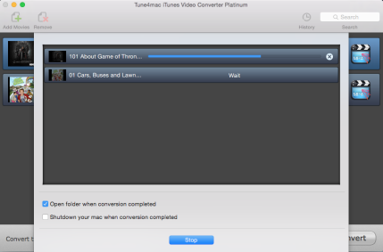 iTunes Video Converter Platinum Working Panel