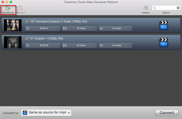 add iTunes M4V files to converter