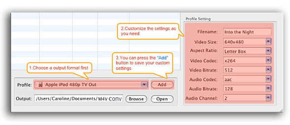 Set parameters for your own video format and save the format to the program