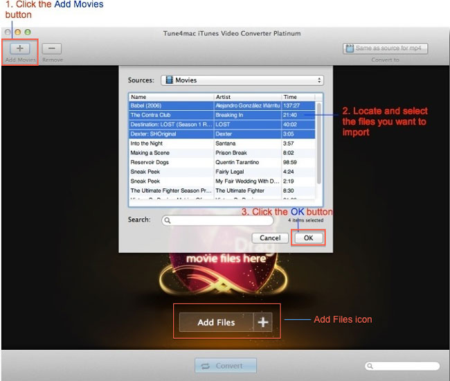 Tune4mac iTunes Video Converter Platinum Interface