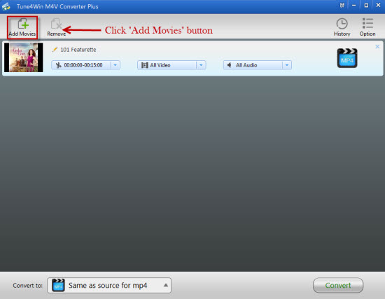 Add iTunes M4V videos to iTunes M4V Converter Plus Windows