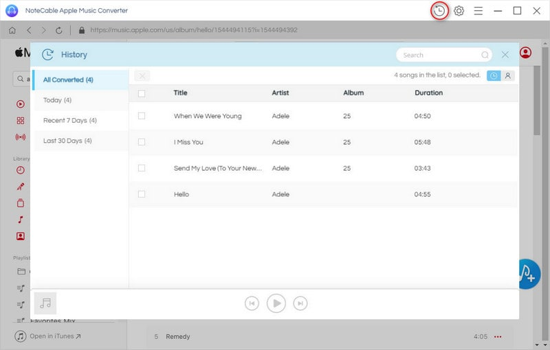 Find the converted iTunes audio files on <b>History</b> option