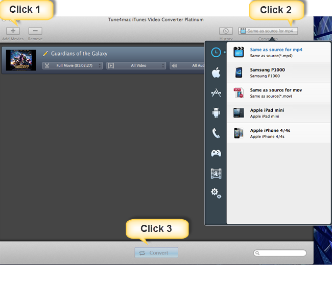 3 clicks on Tune4mac iTunes Video Converter let you convert M4V Guardians of the Galaxy to MP4.