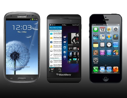 blackberry z10, iphone 5, galaxy s3
