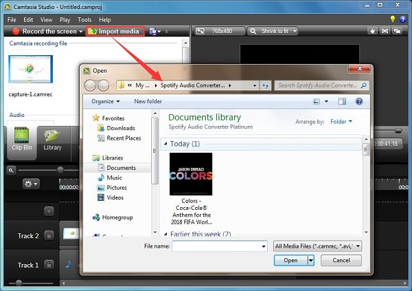 Import music from Spotify to Camtasia Studio
