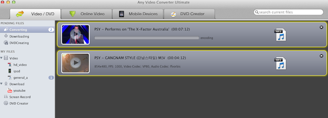 start to convert gangnam style youtube video to mp3