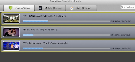start to download gangnam style video