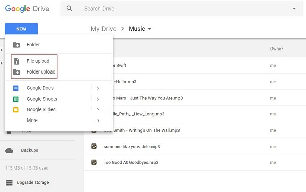 Upload Apple Music to Google Drive
