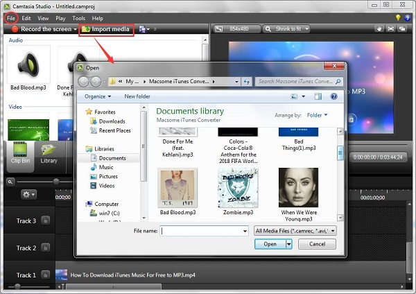 Use the converted iTunes Music on Camtasia Studio